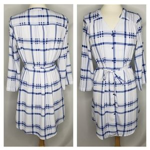 41 Hawthorne Blue White Plaid Belted Dress